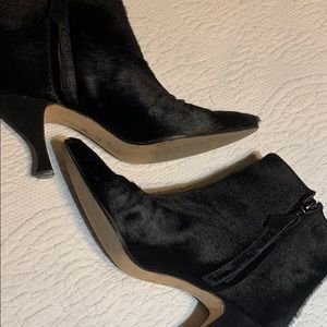 Amazing calf hair ankle boots by Manolo Blahnik.